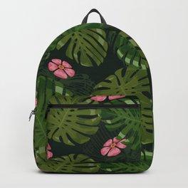 Modern Green Flower And Tropical Jungle Backpack