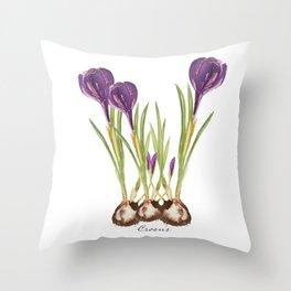 Crocus watercolor  Throw Pillow