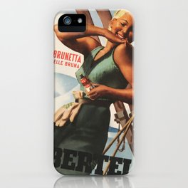 Vintage 1938 Suntan Lotion Bertelli by Gino Boccasile Lithograph Advertisement iPhone Case
