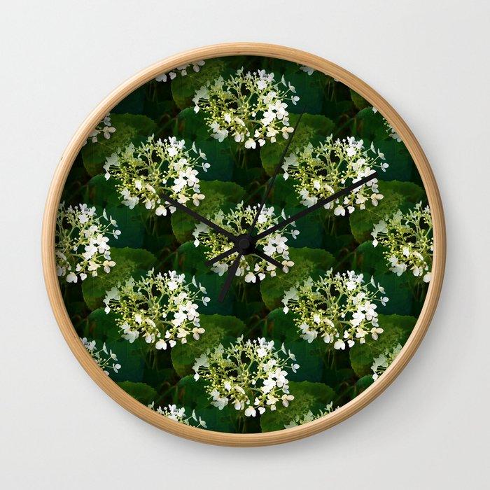 Hills-of-snow hydrangea pattern Wall Clock