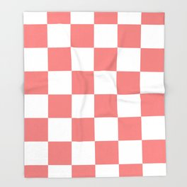 Large Checkered - White and Coral Pink Throw Blanket
