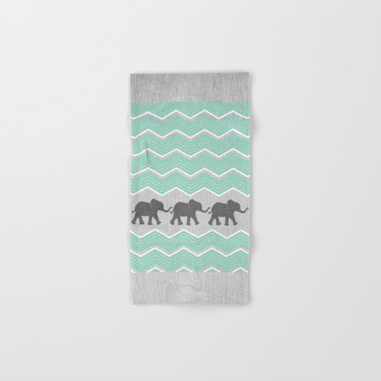 Three Elephants - Teal and White Chevron on Grey Hand & Bath Towel