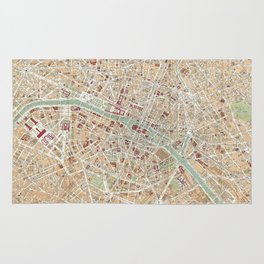 Vintage Map of Paris (1892) Rug