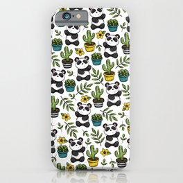 Panda Print, Succulents, Greenery and Cute Pandas, Flowers and Cactus iPhone Case