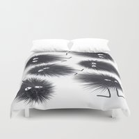 men Duvet Covers featuring Ink Men by Jennifer Warmuth Art And Design