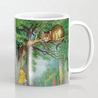 cheshire cat Mugs featuring Cheshire Cat by rapplatt
