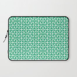 Jade and White Greek Key Pattern Laptop Sleeve