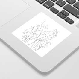 Minimal Line Art Summer Bouquet Sticker