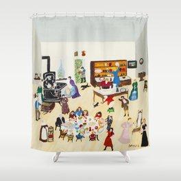 Anna Mary Robertson 'Grandma' Moses Thanksgiving American Folk Art Shower Curtain