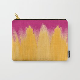 Mango Yellow Brushstrokes on Strawberry Pink Carry-All Pouch