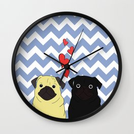 Chevron Pug Wall Clock