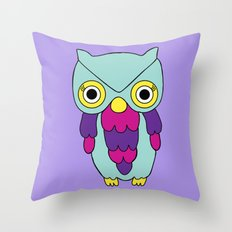 Psychedelic Woodland Turquoise Owl Throw Pillow