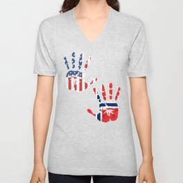 USA Norway Handprint & Flag | Proud Norwegian American Heritage, Biracial American Roots, Culture, Unisex V-Neck