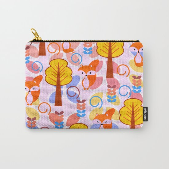Cute foxes in a magical forest Carry-All Pouch