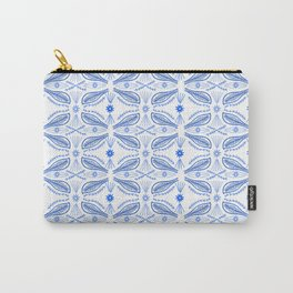 Poblanos Pattern Blue White Carry-All Pouch