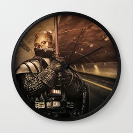 Man Holding Pipe In Tunnel Wall Clock