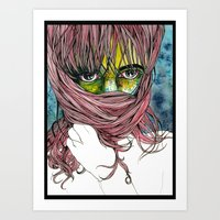 Even zombies feel like hiding sometimes. They're just not very good at it. Art Print