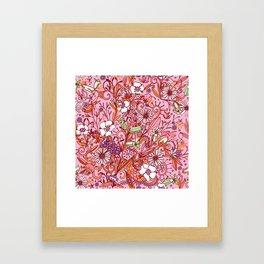 Daisy and Bellflower pattern, pink Framed Art Print