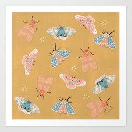 Moths Pattern - Pastels - Yellow Art Print
