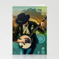banjo Stationery Cards featuring Banjo Man by Bedros Awak