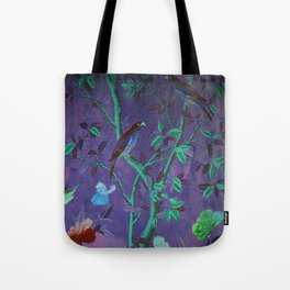 Aubergine & Teal Chinoiserie Tote Bag