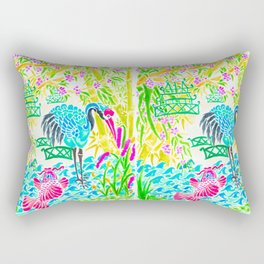 Asian Bamboo Garden in Sunset Watercolor Rectangular Pillow
