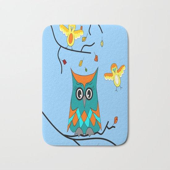 Owl And Birds Bath Mat