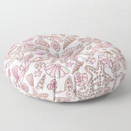 Millennial pink seashells Floor Pillow