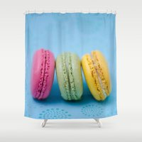 macaron Shower Curtains featuring Macaron Series - Blue by Zayda Barros