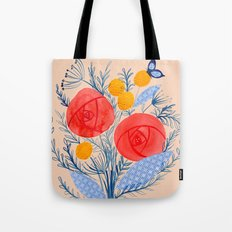 Floral Collage Painting With Red Flowers Blue Butterflies Tote Bag