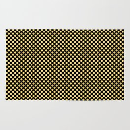 Black and Lemon Drop Polka Dots Rug