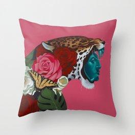 Jaguar Warrior Throw Pillow
