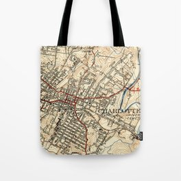 Vintage Map of Charlottesville Virginia (1949) Tote Bag
