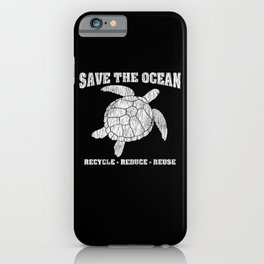 Vintage Save The Sea Turtles Animal Right Turtle iPhone Case