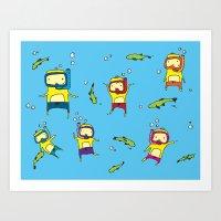 scuba Art Prints featuring Scuba Scuba by Steph Chen