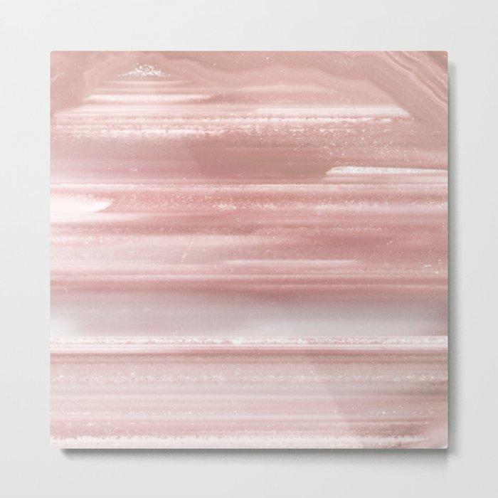 Geode Crystal Rose Gold Pink Metal Print