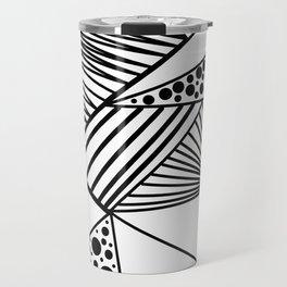 Modern abstract black white geometric stripes polka dots Travel Mug