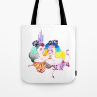 leah flores Tote Bags featuring Flores by Tania Orozco