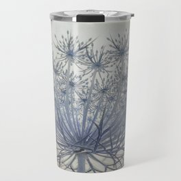 Vintage Wildflower Botanical Queen Anne's Lace in Blue Travel Mug