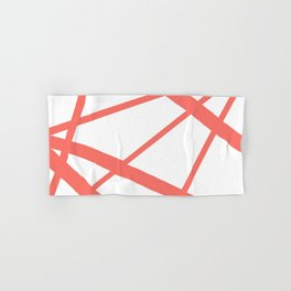 Living Coral Open Star Geometric Abstract on White Hand & Bath Towel