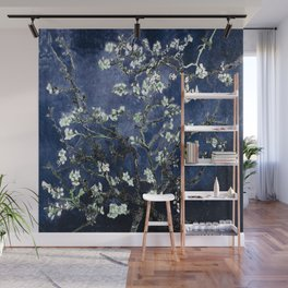 Vincent Van Gogh Almond Blossoms Dark Blue Wall Mural