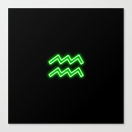 Bright Neon Green - Aquarius the Water Bearer Star Sign Canvas Print