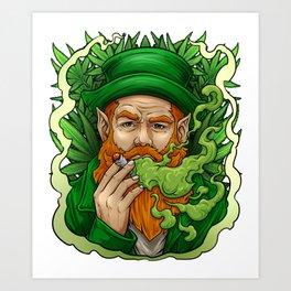 Leprechaun Smoking Weed St Patrick's Day Funny print Art Print