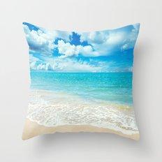 Beach - Ocean - Clouds - Water - Waves Throw Pillow
