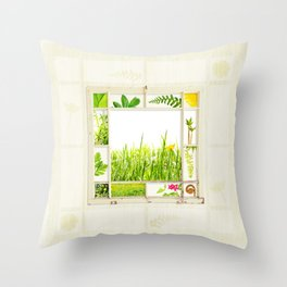 Spring window sampler Throw Pillow