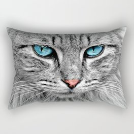 Blue Cat Eyes You Can Never Forget Rectangular Pillow