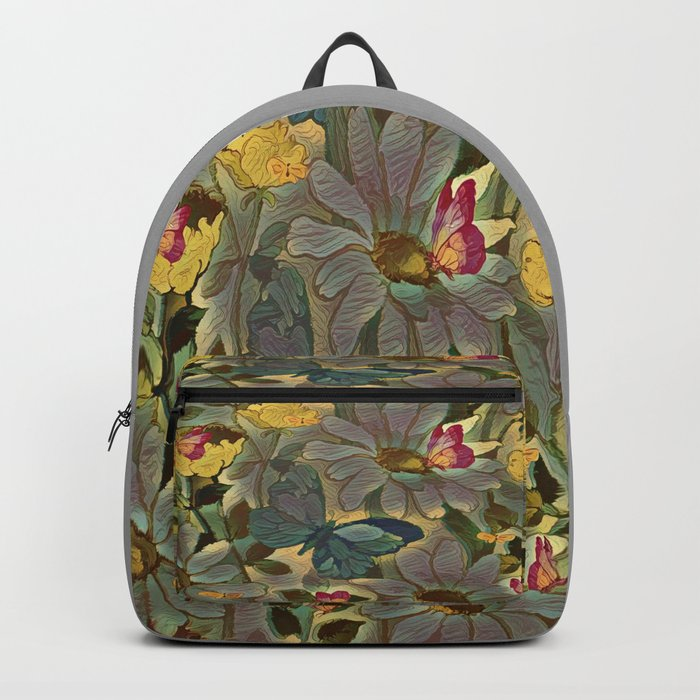 Painterly Flowers and Butterflies Backpack