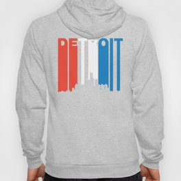 Red White And Blue Detroit Michigan Skyline Hoody