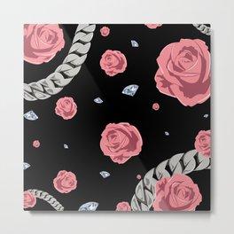 "Rose "" Pink  Black "" Metal Print"
