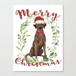 Merry Christmas Chocolate Labrador Canvas Print